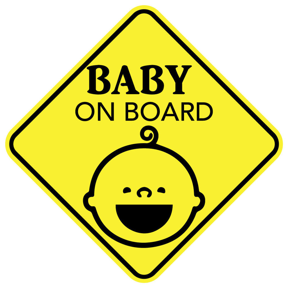 Baby on board smiling sticker