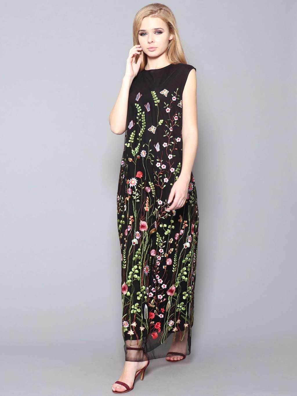 b5e1d189aae05a Черное платье макси с вышивкой maybe .