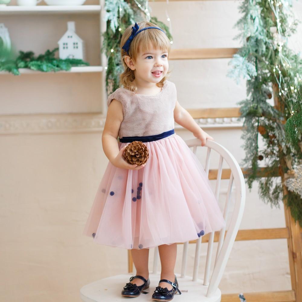 2ab911d00a7 Платье c мехом для девочек и помпонами