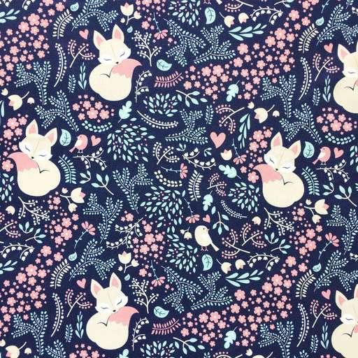 f366b44bdda9d Отрезы хлопка - Премиум-хлопок - Лисички в саду на синем - купить в ...