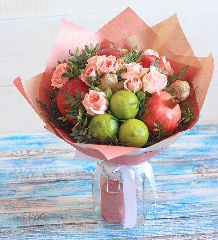 Букеты из розовых цветов и фруктов москва, цветов челябинск
