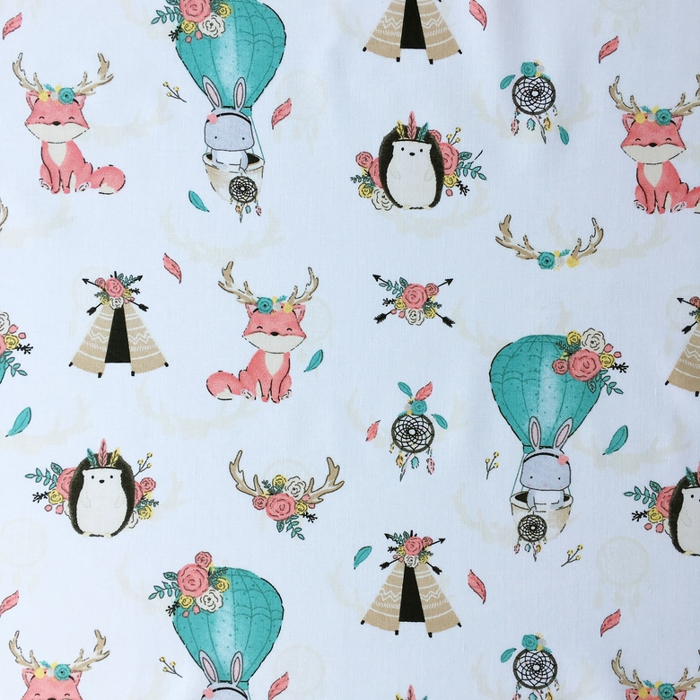 4ebaf9b63aab6 Ткань хлопок - Зайки на воздушном шаре и лисички, бохо – купить в ...