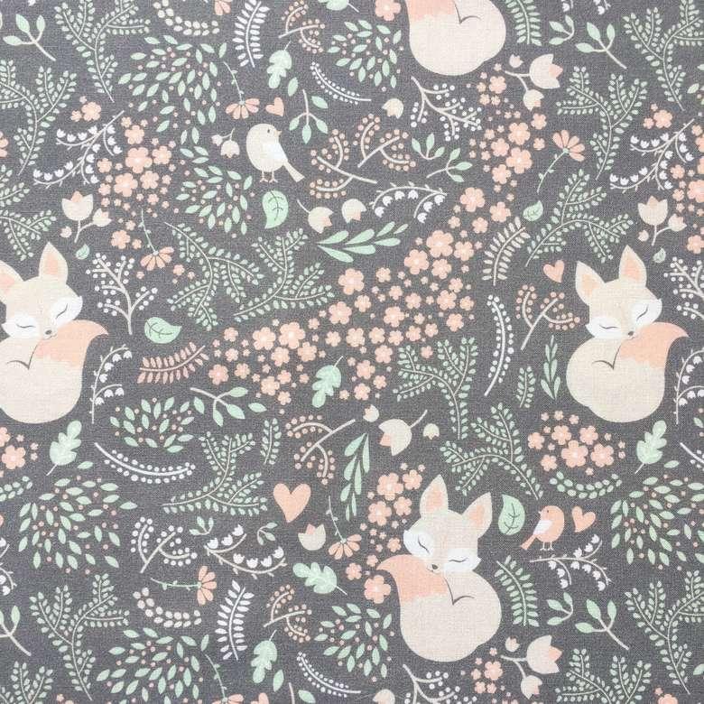 63c2c628c994c Премиум хлопок для детского текстиля - Ткань Лисички в саду на сером фоне  ...