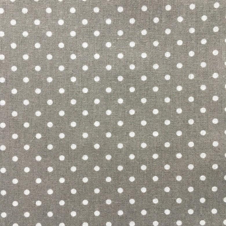 894e06fa94d Ткань хлопок - Горошек белый 4 мм на сером фоне – купить в интернет ...