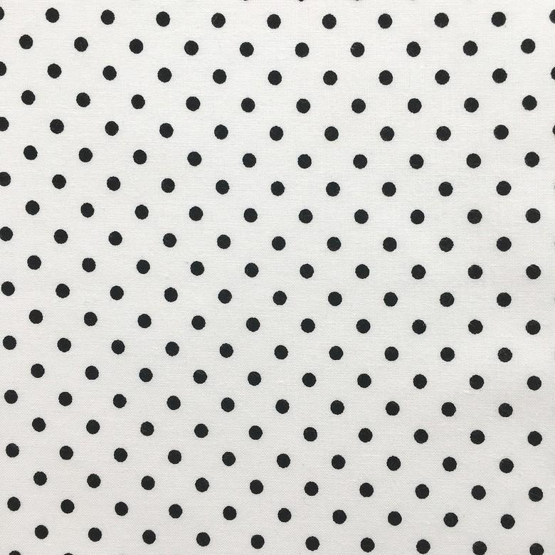 b68ed8d9f4a Ткань хлопок Горошек черный 3 мм на белом фоне – купить в интернет ...
